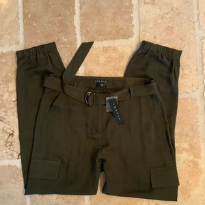 100% THEORY Hannon Army Green Pants